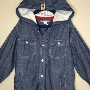 ROOTS KIDS blue cotton long sleeve hooded Shacket